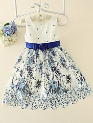 Girl's Holiday Floral Dress,Polyester Summer Sleeveless