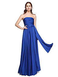 A-Line Strapless One Shoulder V-neck Floor Length Jersey Bridesmaid Dress with Pleats Criss Cross by LAN TING BRIDE®