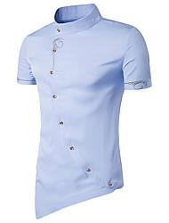 Masculino Camiseta Para Noite Casual Vintage Simples Primavera Verão,Sólido Algodão Colarinho Chinês Manga Curta Fina