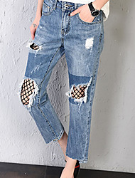 Women's Mid Rise Inelastic Jeans Pants,Street chic Loose Solid