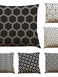 Set of 6 Lattice Geometry Pattern Pattern  Linen Pillowcase Sofa Home Decor Cushion Cover (18*18inch)