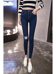 jeans ajustados señal de 2017 modelos de primavera de color sólido de alta cintura de la rodilla femenina agujero deshilachado recorte