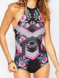 Women's Tankini,Lace Up Solid Polyester Black