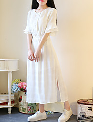 New sweet horn sleeve solid color chiffon split skirt waist small fresh student dress and long sections