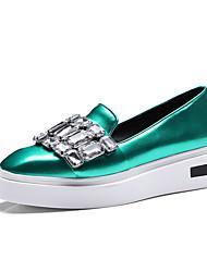 Mujer-Tacón Plano-Zapatos del club-Zapatillas de deporte-Oficina y Trabajo Fiesta y Noche Vestido-PU-Gris oscuro Verde