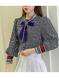 New Korean bow tie long-sleeved plaid shirt female loose chiffon shirt shirt bottoming shirt tide