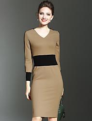 Feminino Tubinho Vestido,Trabalho Simples Sólido Decote Redondo Altura dos Joelhos Manga ¾ Raiom Primavera Cintura Baixa Micro-Elástica