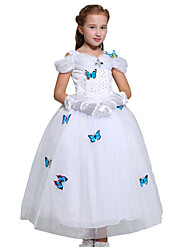 Ball Gown Tea-length Flower Girl Dress - Tulle Flocking Short Sleeve Off-the-shoulder with Bow(s) Crystal Detailing