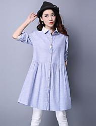 Women's Office/Career Dailywear Shopping Street Date Simple Spring Fall Shirt,Mixed Color Shirt Collar Long Sleeves N/A Medium