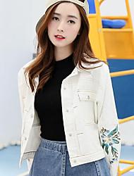 Sign denim jacket Spring new Korean female short paragraph was thin women loose embroidered denim clip