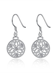 Concise Silver Plated Clear Crystal Hollow Flower Round Drop Earrings for Party Women Jewelry Accessiories