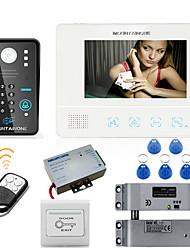 Mountainone 7 pouces rfid mot de passe vidéo porte téléphone interphone système sonnette caméra 1000tvl électrique goutte boulon verrou