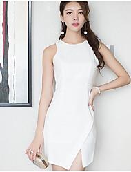 Real shot in summer 2017 new Korean version of Slim irregular sleeveless round neck slashed short white dress