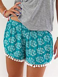 Women's Mid Rise Micro-elastic Shorts Pants,Boho Loose Tassel Print