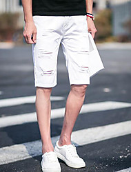 Men's Mid Rise Micro-elastic Shorts Pants,Simple Loose Solid
