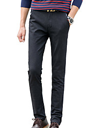 Men's Slim Chinos PantsCasual/Daily Simple Solid Mid Rise Button Cotton Polyester Spandex Inelastic All Seasons HY-M601