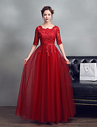 Formal Evening Dress A-line Jewel Floor-length Lace Tulle