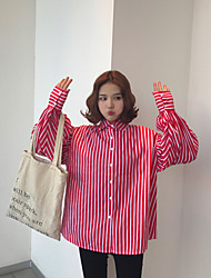 Really making 2017 spring new Korean Fan shirt striped long-sleeved shirt female