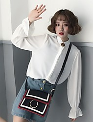 Real shot female long-sleeved white shirt chiffon shirt shirt shirt ladies tide