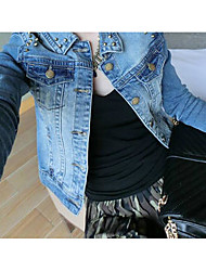 Women's Going out Simple Summer Denim Jacket,Solid Round Neck Long Sleeve Long Cotton