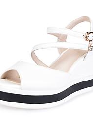 Women's Sandals Spring Summer Fall Slingback PU Office & Career Party & Evening Dress Wedge Heel Rhinestone Buckle