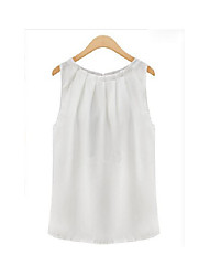 Women's Going out Simple Spring Summer Shirt,Solid Round Neck Sleeveless Rayon Thin