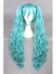 onda longa vocaloid sintéticos rabos cosplay 32 polegadas anime verdes peruca cs-222a