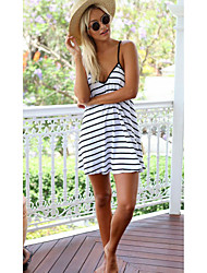 Women's Casual/Daily Simple Loose Dress,Striped Strap Above Knee Sleeveless Cotton All Seasons Low Rise Micro-elastic Medium