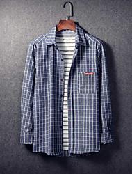 Men's Casual/Daily Simple Shirt,Plaid Shirt Collar Long Sleeve Cotton