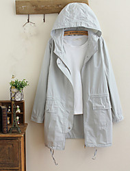 Women's Going out Casual/Daily Simple Spring Trench Coat,Solid Hooded Long Sleeve Long Cotton