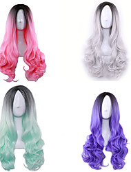 Cosplay Wigs Color Gradient Wig of Curly Hair Wig 26 inch