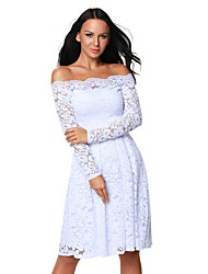 Women's Long Sleeve Floral Lace Boat Neck Cocktail Swing Dress