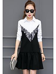 Nouvelle femme, petit vent parfumé faux deux, à manches longues, robe version coréenne de la petite robe noire