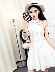 Assinar novo sexy strapless rendas arco laço halter vestido