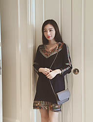 2016 Autumn temperament was thin new women's national wind V-neck long-sleeved dress fringed Sign