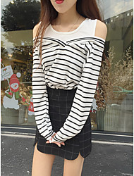 Damen Gestreift Einfach Lässig/Alltäglich T-shirt,Rundhalsausschnitt Langarm Baumwolle Dünn