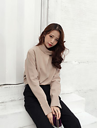 Women's Casual/Daily Sophisticated Blouse,Solid Turtleneck Long Sleeve Polyester