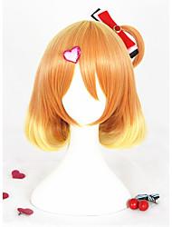 Short Curly Orange Mixed Macross Delta Freyja Wion Synthetic 14inch Anime Cosplay Wig CS-291B