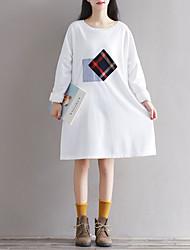 signe art géométrique art géométrique rétro robe lâche tricot col rond 17 patch ressort