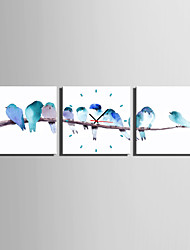 MINI SIZE E-HOME Birds on The Branch Clock in Canvas 3pcs