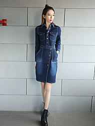 Sign 2017 spring new European and American fashion split package hip long-sleeved long section Slim denim dress
