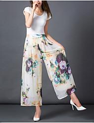 Feminino Moda de Rua Cintura Alta Inelástico Chinos Calças,Perna larga Estampado