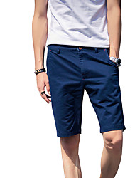 Men's Plus Size Slim Chinos Shorts Pants,Casual/Daily Beach Sports Vintage Simple Street chic Solid Low Rise Zipper Button Cotton
