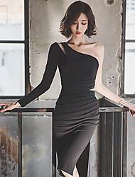 2016 robe d'automne et d'hiver sexy bretelles déesse robe jupe fente slim paquet hip jupe petite robe noire
