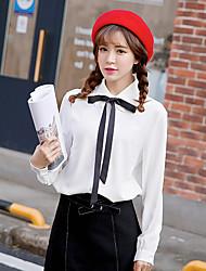 Sign white 2017 spring new lace long-sleeved white shirt chiffon shirt female Wawa Shan