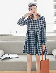 Sign 2017 new Korean literary small fresh College Wind long-sleeved plaid dress retro navy collar