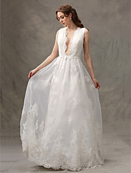 LAN TING BRIDE A-line Wedding Dress Simply Sublime Floor-length V-neck Lace Tulle with Appliques Draped Lace