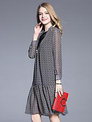 2017 Frühjahr europäischer und amerikanischer echter Schuss in dem High-End-Retro-Print Kleid weibliches loses langärmeliges Kleid