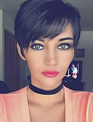 Heat Resistant Human Hair Wig Chic Short Layered Straight Black Capless Cap Wig For Women 2017