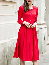 Fall Literary Chinese red long-sleeved linen dress put on a large single-breasted one-piece dress lady